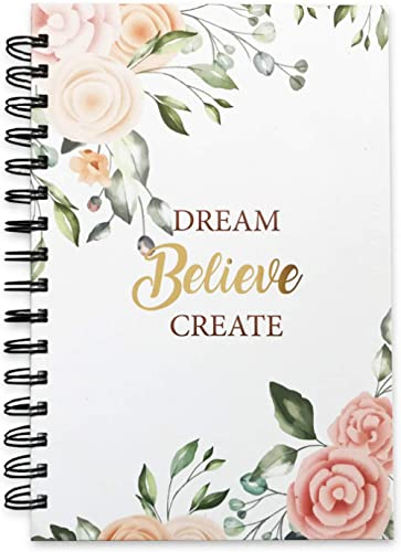 The positive store | Floral Design Dream Believe Create Daily Planner for Time Management Undated Law of Attraction J...