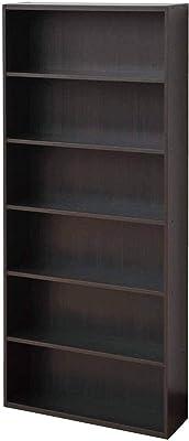 山善 本棚 幅59.5×奥行17×高さ134cm 6段 スリム オープンラック 組立品 ダークブラウン CMCR-1360(DBR)