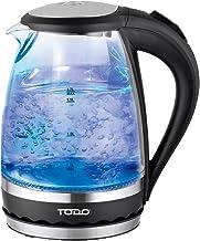 Todo 1.5L Glass Cordless Kettle Electric Blue Led Light 360 Clear Jug Black