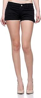 Fasnoya Women Black Denim Shorts