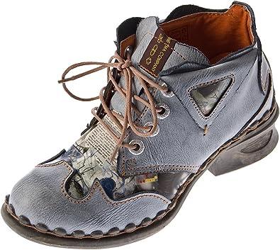 TMA Scarpe da donna in pelle Comfort, 5155, con tacco a blocco, colore: nero/grigio/blu/bianco
