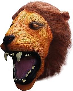 molezu Ferocious Lion Mask, Costume Party Latex Animal Head Mask for Adult Yellow