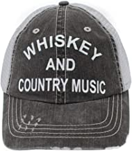 R2N fashions Whiskey and Country Music Women's Trucker Hats & Caps Black/Grey