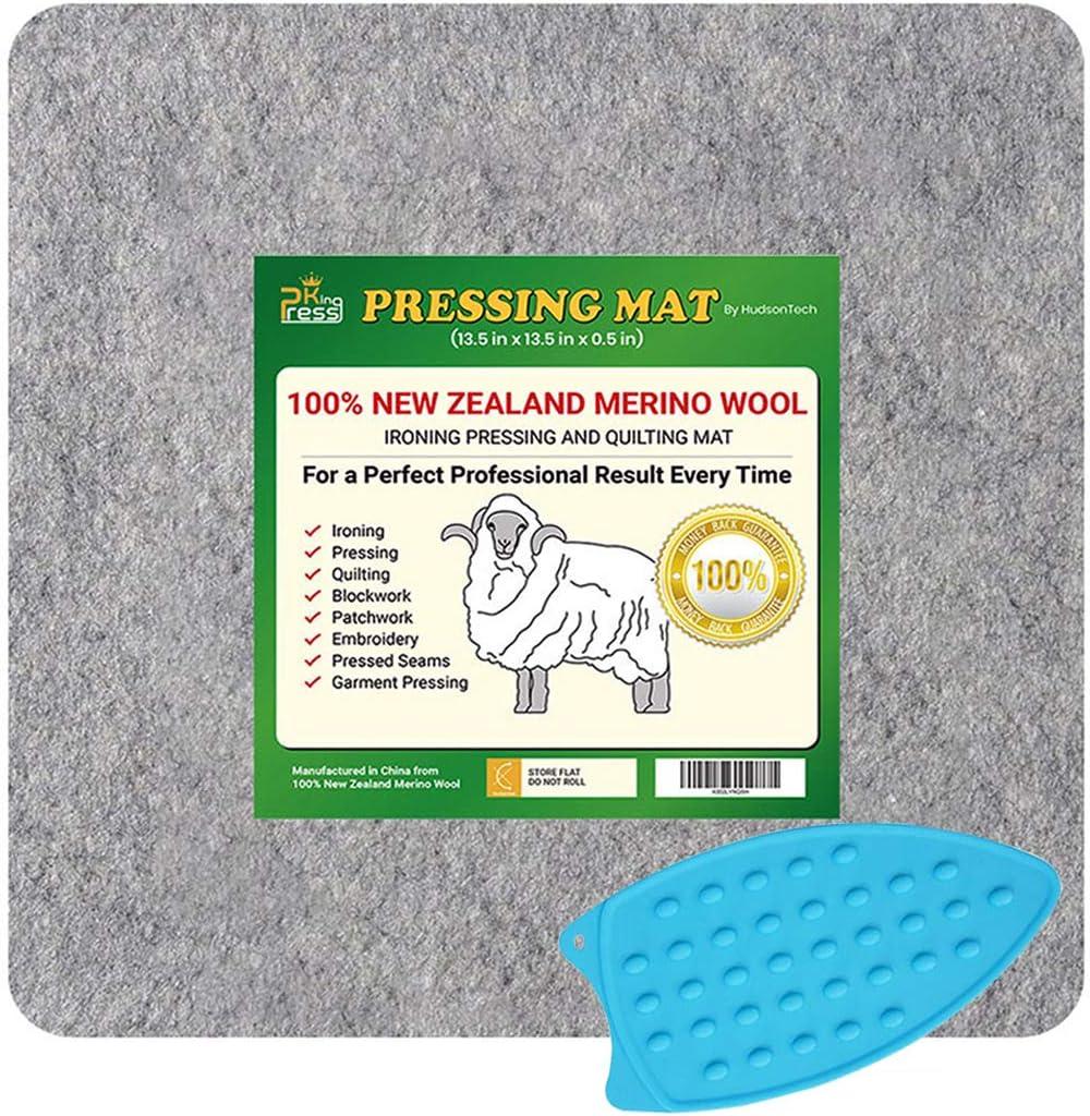 HudsonTech 13,5 x 13,5 gefilzte Wolle Pressmatten zum Quilten Pad ist Neuseeland Wollmatte f/ür N/ähutensilien und B/ügeln und Silikon Eisenpad
