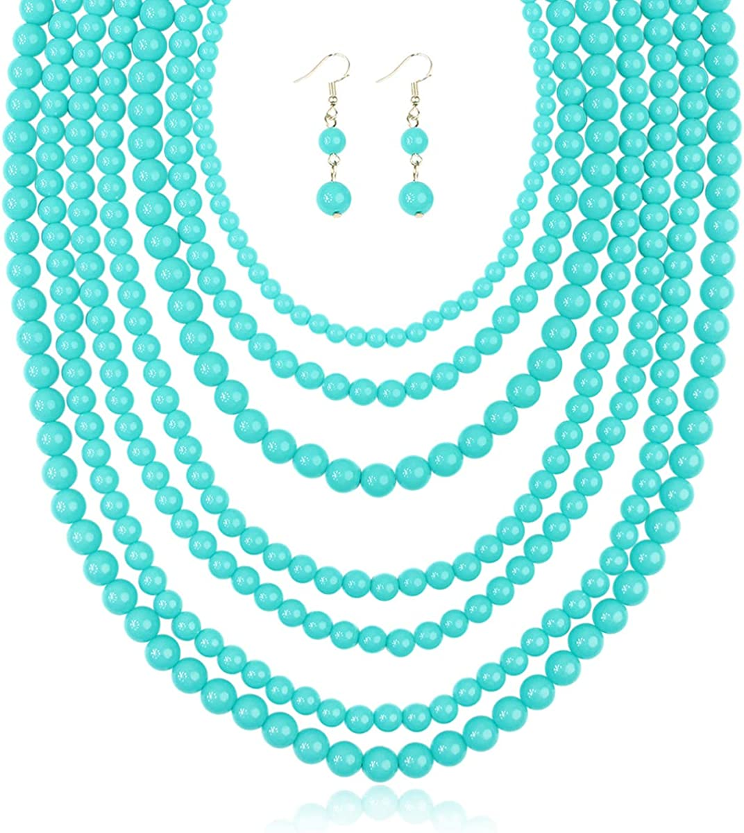 Multi Beaded Bubble Statement Necklace Drape Chunky Ball New popularity 100% quality warranty - Round