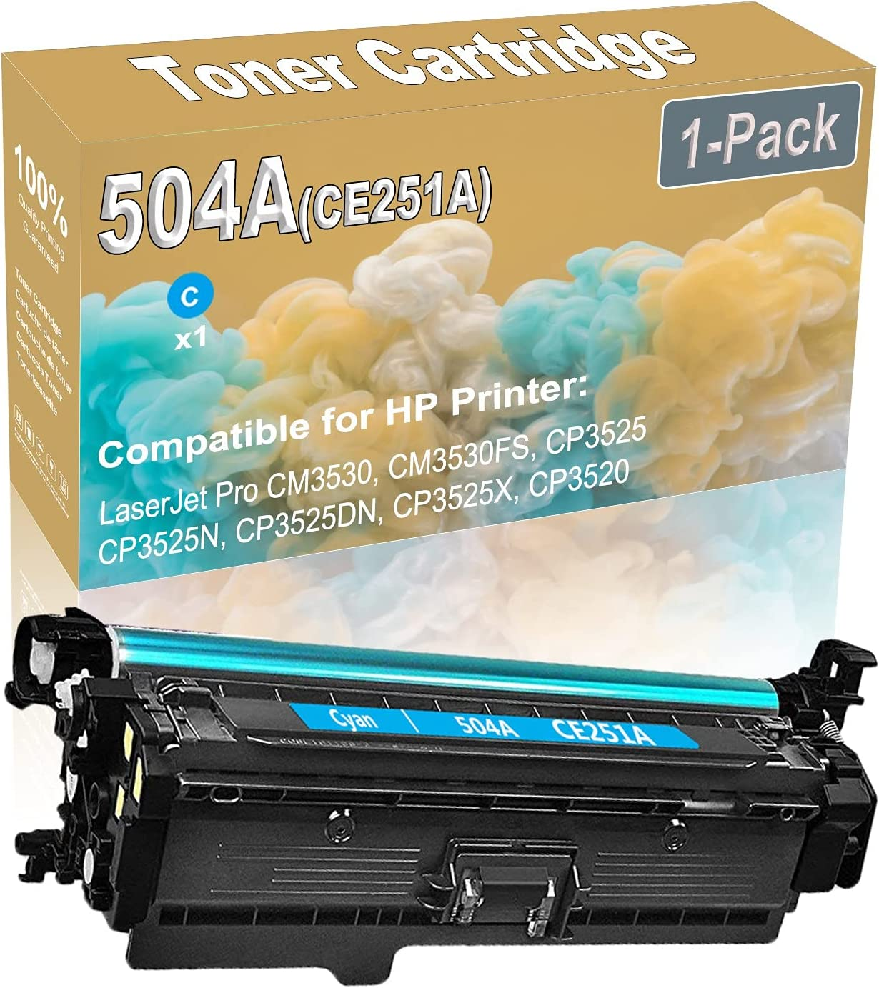 1-Pack (Cyan) Compatible High Yield 504A (CE251A) Printer Toner Cartridge use for HP CM3530 CM3530FS Printers