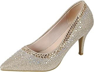 Cambridge Select Women's Pointed Toe Glitter Crystal...