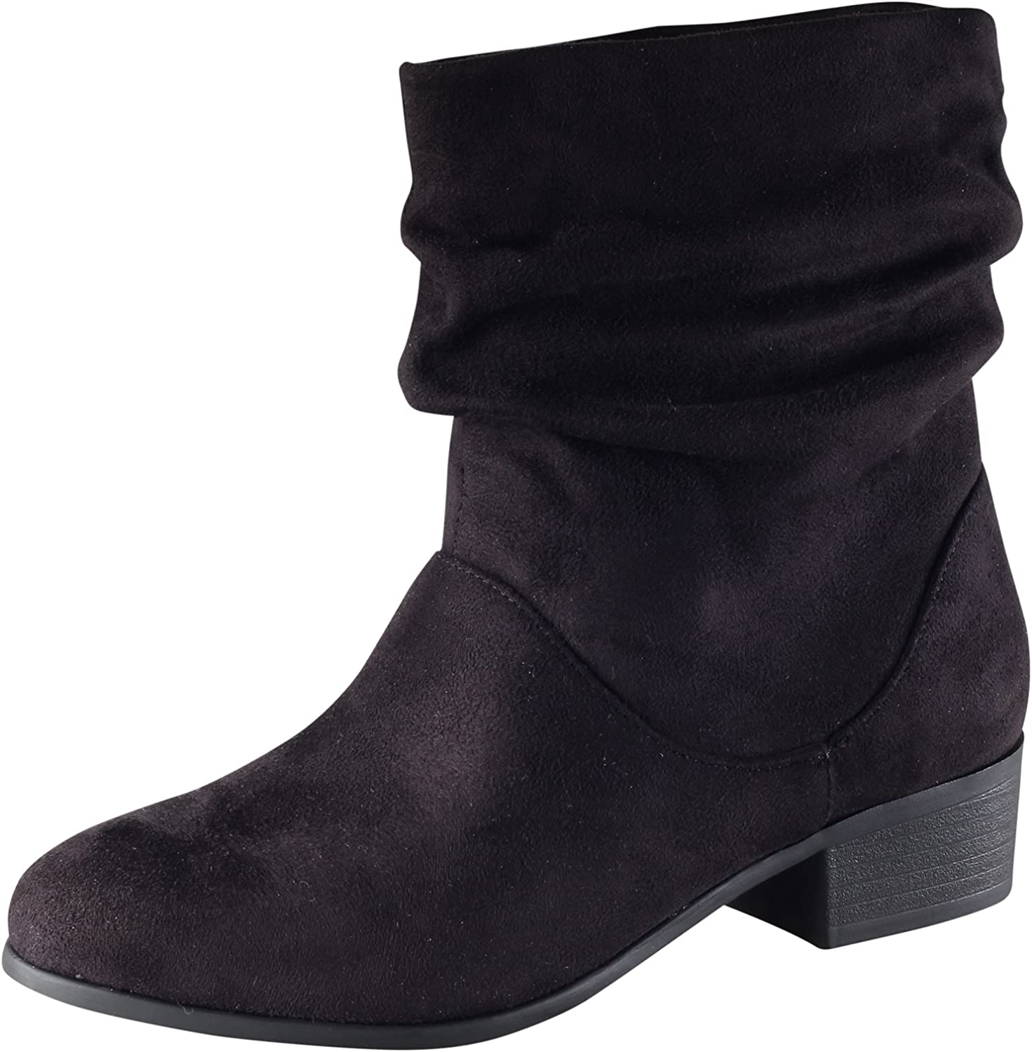 Soda Women's Energy Slouchy Round Toe Sueded Boot