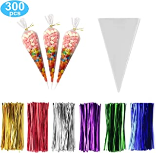 300 Pack Clear Cone Treat Bags Cone Cellophane Treat Bags Triangle Bags with 3.1