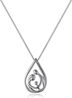 """Jewelili Sterling Silver Family Drop Pendant Necklace, 18"""""""