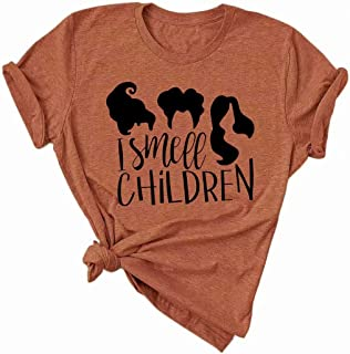 It's Just A Bunch of Hocus Pocus T-Shirt Funny Graphic Tee Shirt for Women Halloween Short Sleeve T Shirts