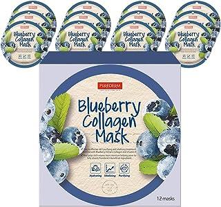 PUREDERM Blueberry Collagen Mask (12masks) / Facial mask/Circle mask/Collagen mask/Vitamin mask/Blueberry mask