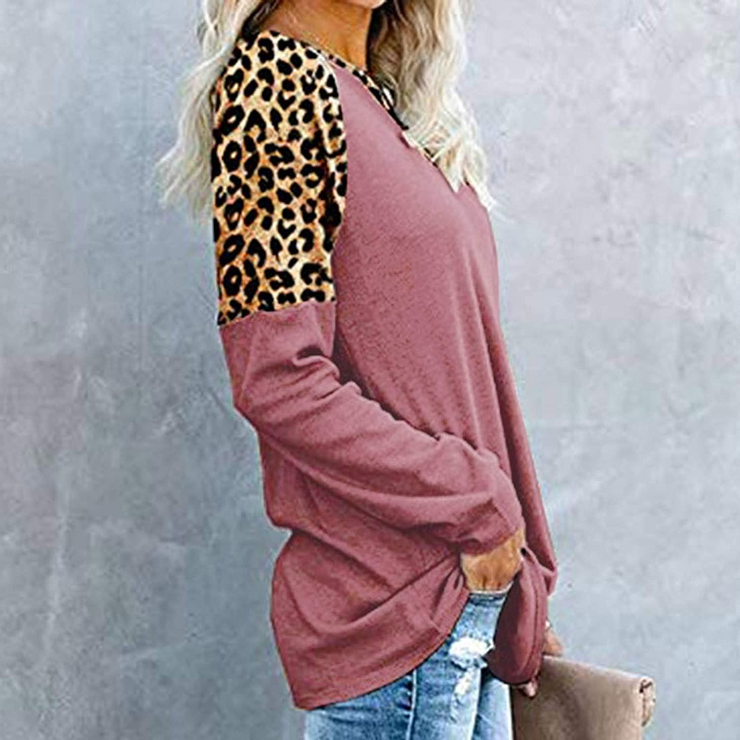 YANMODA Oversized T Shirts for Women Round Neck Splicing Casual Long Sleeve Straight Leopard Print Sweatshirt Blouse Winter Loose Fitting Pullover Top