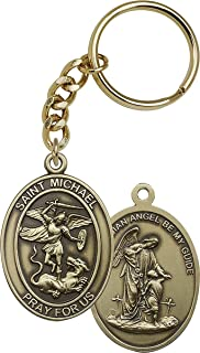 Gold Toned Catholic Saint Michael The Archangel Medal Key Chain