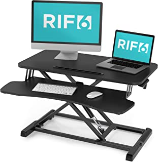 RIF6 Adjustable Height Standing Desk Converter - 32 Inch Wide Laptop Riser or Dual Monitor Workstation - Easily Sit or Stand with Gas Spring Lift - Black