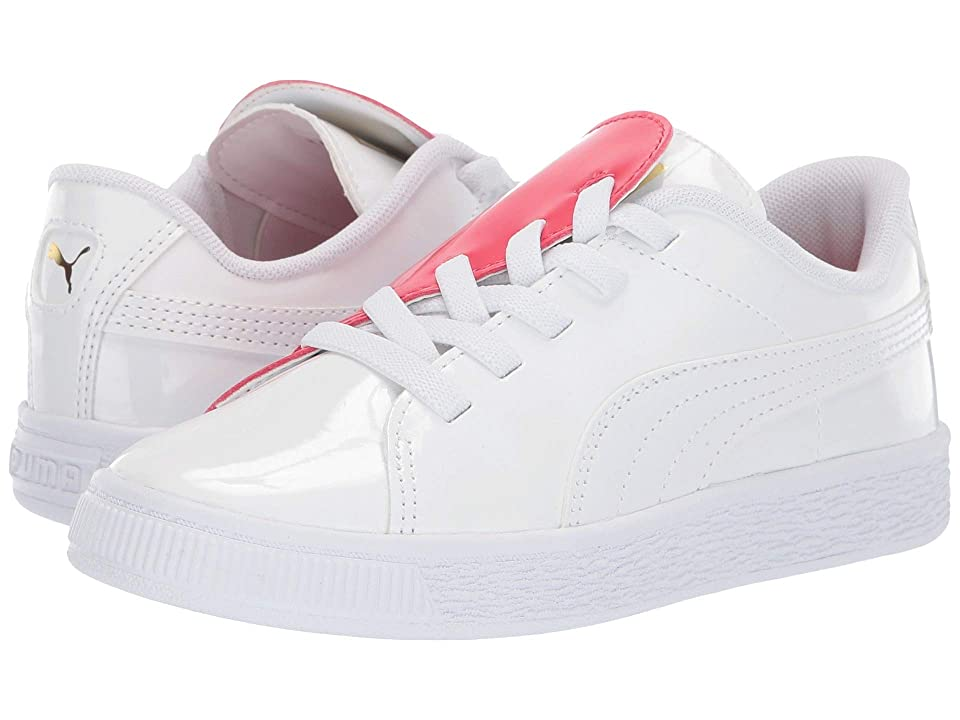 Puma Kids Basket Crush Patent Slip-On (Little Kid) (Puma White/Hibiscus) Kids Shoes