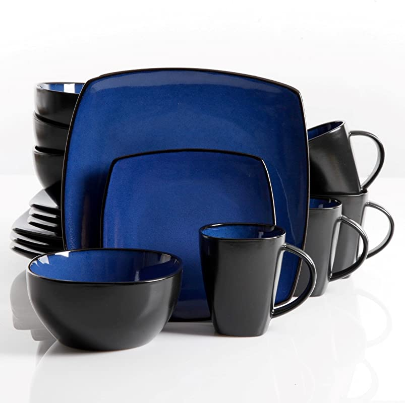 Gibson Elite Soho Lounge Reactive Glaze 16 Piece Dinnerware Set In Blue Includes 4 Dinner Plates 4 Dessert Plates 4 Bowls And 4 Mugs