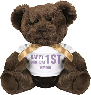 FunnyShirts.org Happy 1st Birthday Emma: 7 Inch Teddy Bear Stuffed Animal