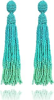Long Beaded Tassel Turquoise Drop Dangle Fringe Bohemian Statement Earrings for Women Girls
