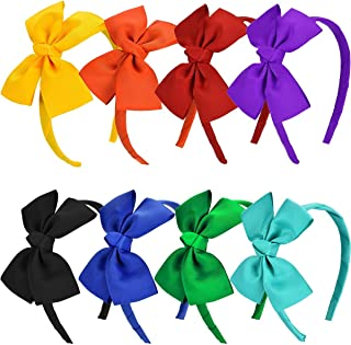 8 Pieces Bow Tie Headband Bow Head Wraps Grosgrain Ribbon Hair Band Hair Accessories for Baby Girls Favors and Party, 8 Colors
