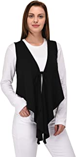 Espresso Women's Sleeveless Waterfall Shrug - Black