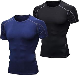 Niksa, 2 Piezas Camisetas de Fitness Compresión Ropa Deportiva Manga Corta Hombre para Correr, Ejercicio,Gimnasio 1053