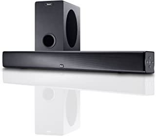 Magnat SBW 250 - Barra de Sonido para Home Cinema con subwoofer inalámbrico, Altavoz Sidefire, Bluetooth 4.0 aptX, HDMI, CEC, ARC, Dolby Digital y Sonido 3D, Color Negro