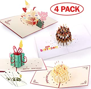Handmade 3D Pop Up Cards - Birthday Set Handmade Pop Up Greeting Card for Your Loved Ones, Wedding Anniversary Card for Couple, Valentine Day, Happy Birthday Cards (Set of 4)