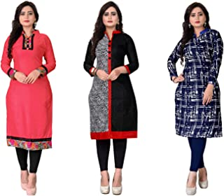 Kesari King Women's A-Line Cotton Printed Semi-Stitched Kurti Material (1002,17,23, Multicolour, Free Size) Pack of 3