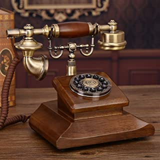 PPCP Classic Retro Corded Telephone Phone Vintage Telephone Landline Wooden Telephone Button Dial, for Home Hotel Decoration
