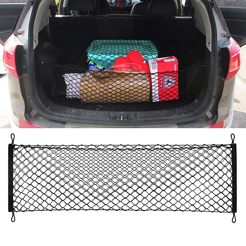 Cargo Net, 70x120CM Elastic Nylon Mesh Univeral Rear Heavy Duty Car Organizer Net with 4 Hooks for SUV Pickup Truck Bed Rooftop Travel Luggage Rack o517712868