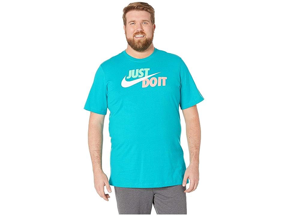 Nike Big Tall NSW Just Do It Swoosh Tee (Spirit Teal/Electro Green/White) Men