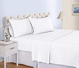 Queen Size Sheets Luxury Soft 100% Egyptian Cotton Sheet Set for Queen Size (60x80) Mattress White Color 550 Thread Count Deep Pocket Fits 14-16 Inches (Pattern : Stripe)