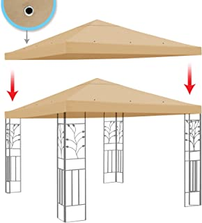 BenefitUSA Replacement Gazebo Canopy Top Patio Pavilion Cover Sunshade Polyester Single Tier, Beige