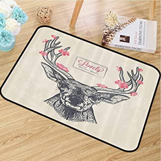 Non-Slip Door mat Antlers Decor Collection Add Color Deer Head with Flowers Blooms Lettering Lovely Natural World Background Pattern W30 x L40 Gray Pink Ivory