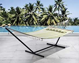 SUNCREAT 2 Person Double Hammock with 12 Foot Steel Stand, Includes Quilted Fabric Bed and Pillow, Green & Beige