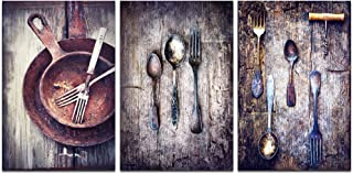 LevvArts - 3 Piece Canvas Paintings Vintage Silverware on Rustic Wooden Table Pictures Wall Art Classic Fork Spoon Knife Giclee Print Kitchen Decor Gallery Wrapped Artwork