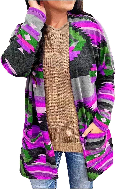 Women's Cardigans Mid-length Metro Printed Woolen Long-sleeved Open Front Loose Cardigan Outwear Top Coat