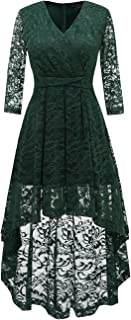 Women's Vintage Floral Lace 3/4 Sleeves Dress Hi-Lo Cocktail Party Swing Dress