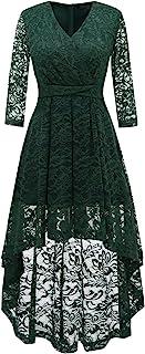 DRESSTELLS Abendkleider elegant Cocktailkleid Unregelmässig Spitzenkleid Vokuhila Floral Kleid