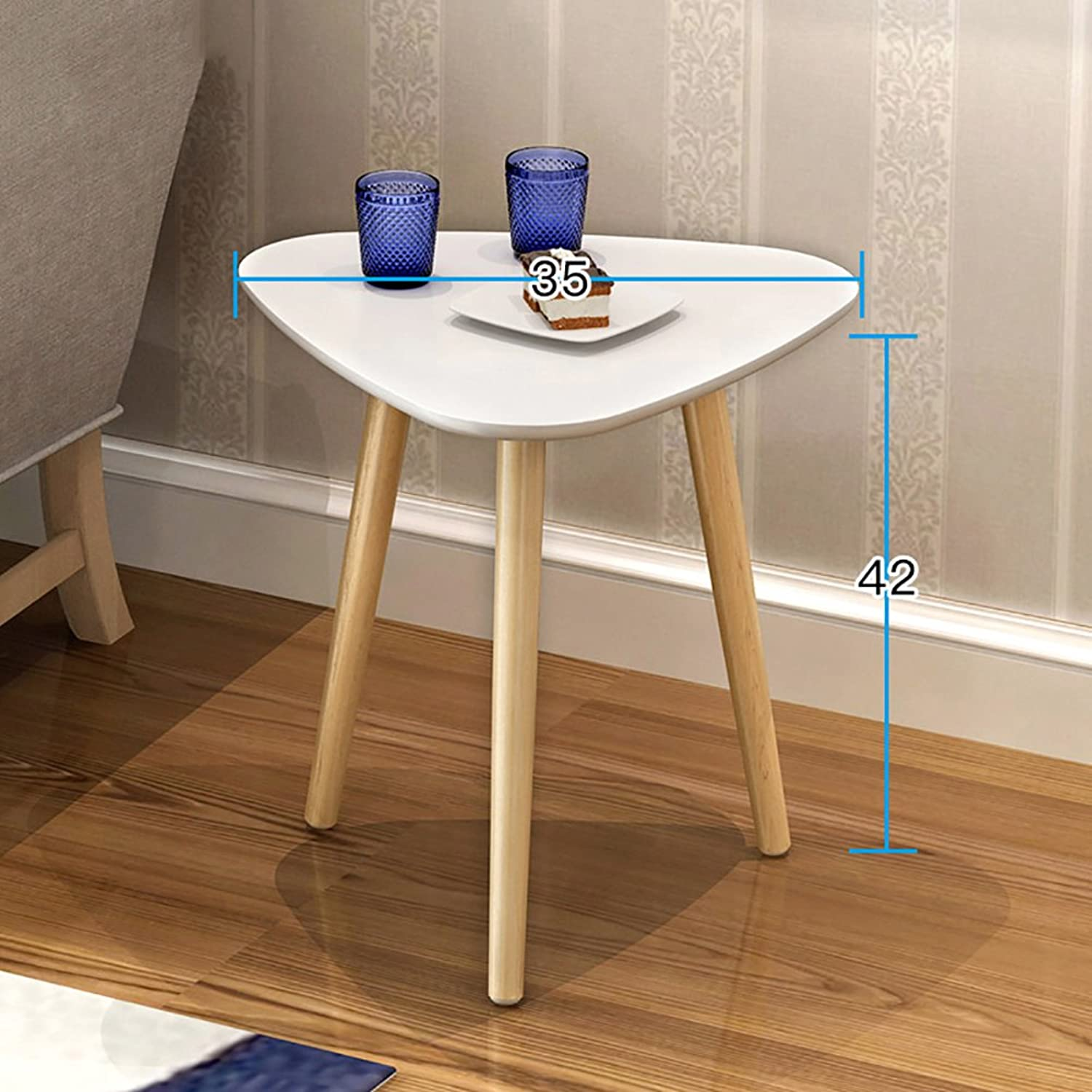Solid Wood Waterproof Side Table, Triangle Living Room Sofa Table Coffee Table Bedroom Night Table Vintage Telephone Table -White 35x42cm