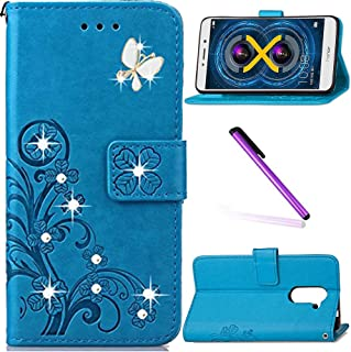 Huawei Honor 6X Case LEECOCO Bling Crystal Diamonds Lucky Clover Floral with Card/Cash Slots Folio Flip Kicktand PU Leather Wallet Slim Protective Case Cover for Huawei Honor 6X Diamond Clover Blue