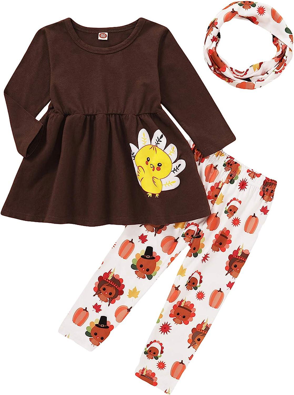 3Pcs Toddler Girls Thanksgiving Outfits Baby Turkey Long Sleeve Ruffle Tunic Dress+Pumpkin Print Pants+Scarf Clothes Set