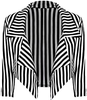 New Womens Black White Striped Crop Waterfall Blazer Ladies Casual Jacket Coat Stripe Blazer