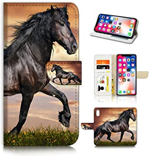 (for iPhone XR) Horse Design Phone Case Wallet Cover Full Body Protection AD001 (Black Horse #21150)