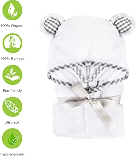 100% Organic Bamboo Hooded Baby Toddler Towel with Washcloth Set by Little Foot - Premium Hypoallergenic 500GSM Extra Large (35X35) for Boys and Girls Baby Shower Gift