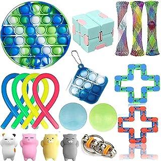 Sensory Fidget Toys 18-Pack – Stress Relief Toys for Focus & Calm – Toy Box & Party Favor Fidget Pack + Reusable Bag (19Pcs)