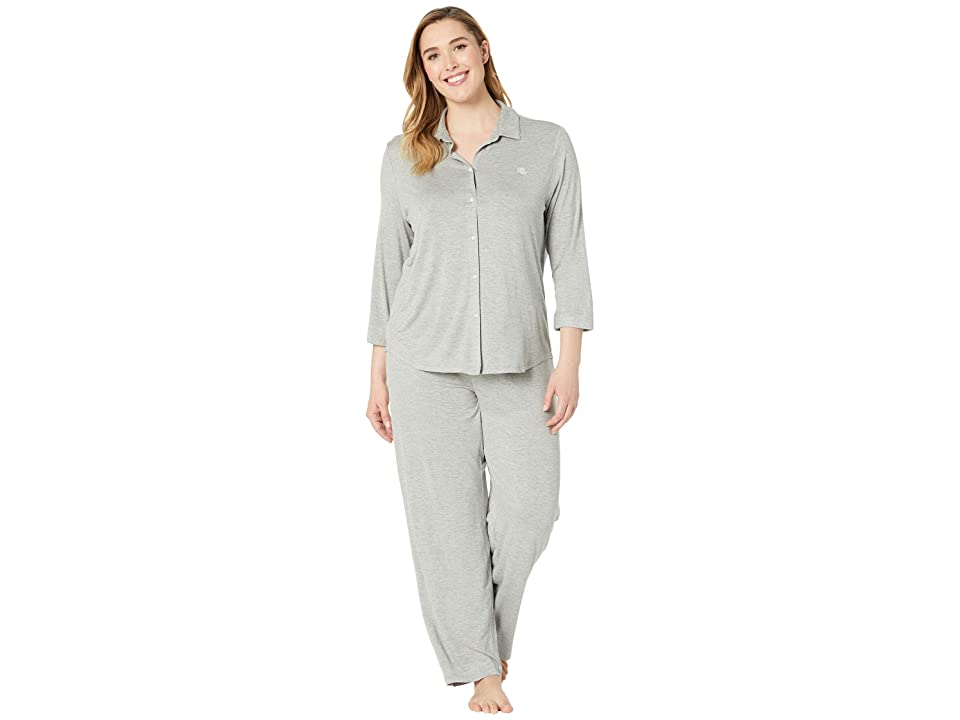 LAUREN Ralph Lauren Plus Size His Shirt Long Pajama Set (Grey Heather) Women