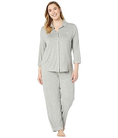 LAUREN Ralph Lauren Plus Size His Shirt Long Pajama Set (Grey Heather) Women