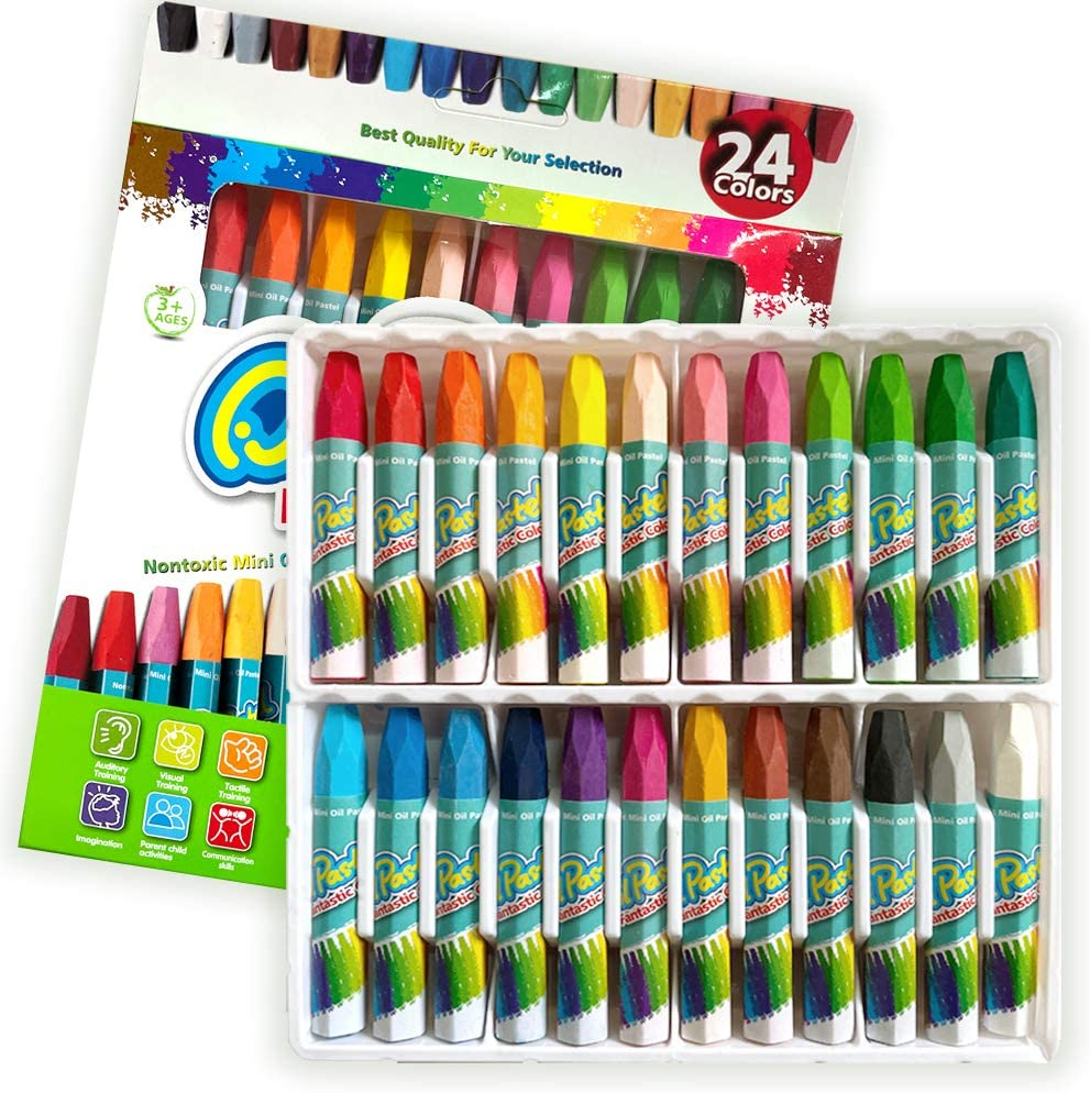 Non Toxic Oil Pastels,24 Assorted Colors Art Crayon Oil Paint Sticks Soft Pastels Set for Kids Indoor Activities, Artists & Beginners,Students Painting Drawing Graffiti Art Supplies (24 Colors)